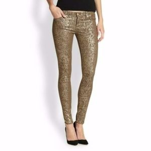 Gold Printed Skinny Jeans by 7 for All Mankind ✨